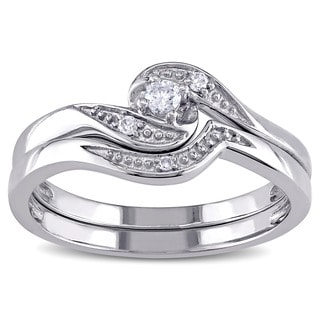 Miadora 10k White Gold 1/10ct TDW Diamond Bridal Ring Set