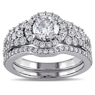 Miadora Signature Collection 10k White Gold 2ct TDW Halo Bridal Ring Set