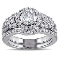 Miadora Signature Collection 10k White Gold 2ct TDW Halo Bridal Ring Set