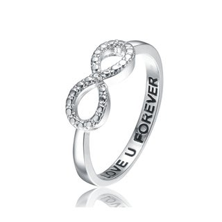 Collette Z Sterling Silver Cubic Zirconia Infinity Ring - White