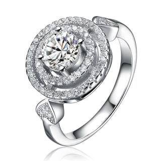Collette Z Sterling Silver Cubic Zirconia Round Ring White