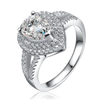 Collette Z Sterling Silver Cubic Zirconia Tear Ring