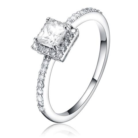 Collette Z Sterling Silver Cubic Zirconia Square Ring - White