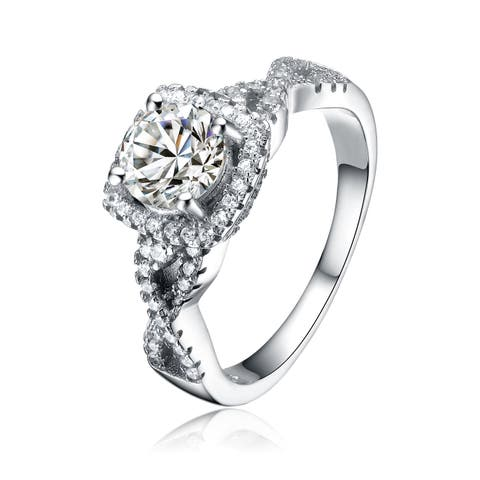 Collette Z Sterling Silver Cubic Zirconia Fancy Square Ring - White