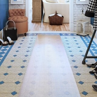 "Floortex Long & Strong Hallway Runner Clear PVC Carpet Protector Roll Mat for Standard Pile Carpets Size 27"" x 12ft"