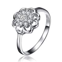 Collette Z Sterling Silver Cubic Zirconia Flower Ring