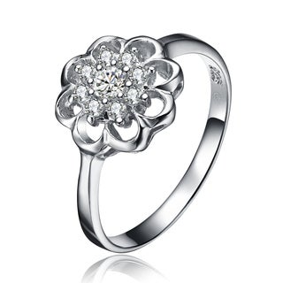 Collette Z Sterling Silver Cubic Zirconia Flower Ring - White