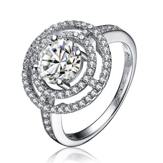 Collette Z Sterling Silver Cubic Zirconia Round Ring - White