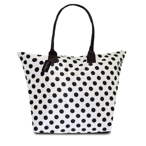 Peach Couture KYLIE White Polka Dot Plage a Main Waterproof Tote