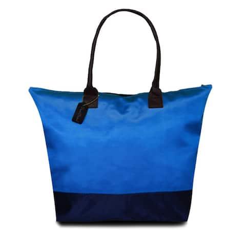 Peach Couture KYLIE Blue Two-tone Plage a Main Waterproof Handbag