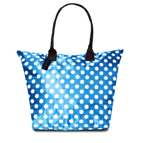 Peach Couture KYLIE Blue Polka Dot Plage a Main Waterproof Tote
