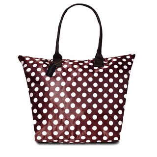 Peach Couture KYLIE Brown Polka Dot Plage a Main Waterproof Tote