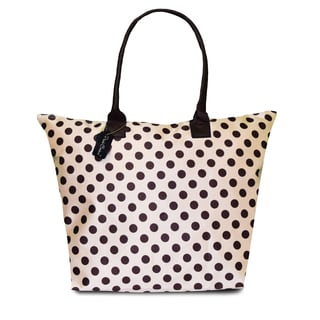 Peach Couture KYLIE Beige Polka Dot Plage a Main Waterproof Tote