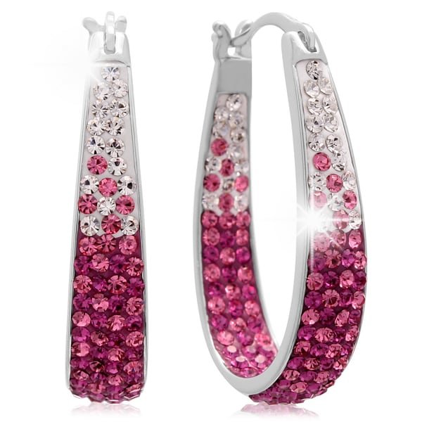Ombre Silver Over Brass Pink Crystal Hoop Earrings