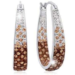 Ombre Champagne Crystal Hoop Earrings, 1 Inch