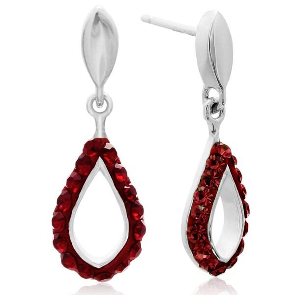 Red Crystal Drop Earrings In Sterling Silver 3 4 Inch