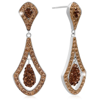 Elegant Champagne Crystal Drop Earrings, 1 1/2 Inches