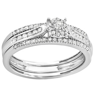 Elora 14k White Gold 2/5ct TDW Round Diamond Bridal Ring Set (I-J, I1-I2)