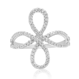 Sterling Silver Cubic Zirconia Filigree Love Knot Ring - White