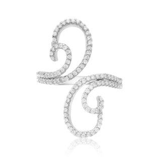 Sterling Silver Cubic Zirconia Swirl Wave Ring - White