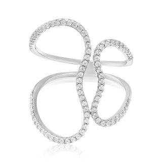 Sterling Silver Cubic Zirconia Open Heart Ring - White