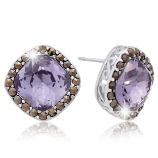 Platinum Overlay 4ct Cushion-cut Created Tanzanite and Marcasite Stud Earrings