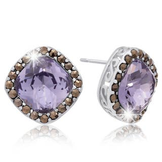 Cushion Cut Light Blue Crystal and Marcasite Stud Earrings, Platinum Over Brass|https://ak1.ostkcdn.com/images/products/10313735/P17425773.jpg?impolicy=medium