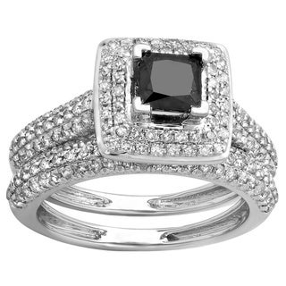 14k Gold 1 2/5ct TDW Princess Black and Round White Diamond Halo Bridal Ring Set