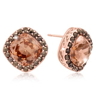 Cushion Cut Pink Crystal and Marcasite Stud Earrings, Rose Gold Over Brass