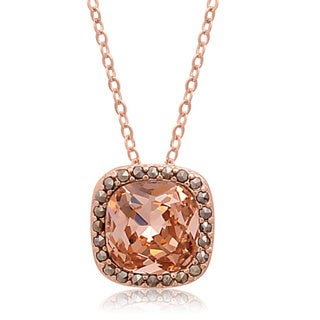 Cushion Cut Pink Crystal and Marcasite Necklace, 18 Inches, Rose Gold Over Brass