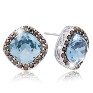 Cushion Cut Blue Crystal and Marcasite Stud Earrings, Platinum Over Brass