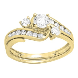 14k Gold 1 1/2ct TDW Round Diamond Swirl Bridal Ring Set