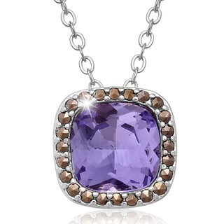 Platinum Overlay 4ct Cushion-cut Created Tanzanite and Marcasite Necklace
