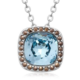 Cushion Cut Blue Crystal and Marcasite Necklace, 18 Inches, Platinum Over Brass