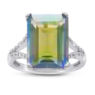 Sterling Silver 10ct Emerald-cut Rainbow Amethyst Diamond Accent Ring