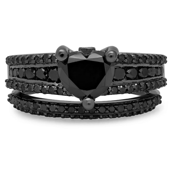 Elora Black Rhodium-plated Sterling Silver 2 7/8ct TDW Round and Heart Black Diamond Heart Bridal Ring Set