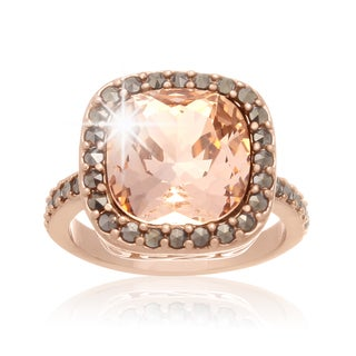 Cushion Cut Pink Crystal and Marcasite Ring, Rose Gold Over Brass