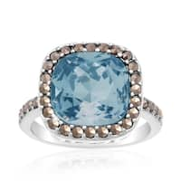 Cushion Cut Blue Crystal and Marcasite Ring, Platinum Over Brass