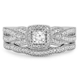 Elora 10k White Gold 1/2ct TDW Round-cut Diamond Halo Bridal Set