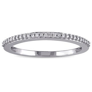 Miadora 14k White Gold 1/10ct TDW Diamond Wedding Band