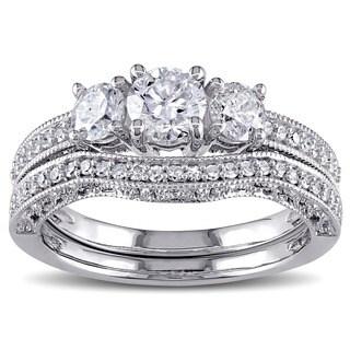 Miadora Signature Collection 14k White Gold 1 1/8ct TDW Diamond Bridal Ring Set (G-H,I2-I3)