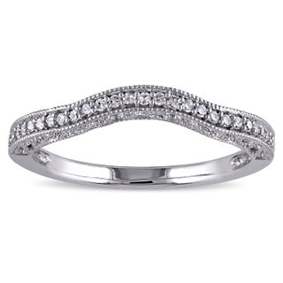 Miadora 14k White Gold 1/8ct TDW Diamond Contour Anniversary-style Stackable Wedding Band (5 options available)