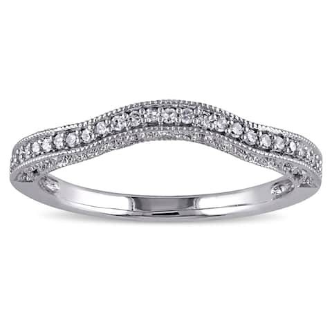 Miadora 14k White Gold 1/8ct TDW Diamond Contour Anniversary-style Stackable Wedding Band - White G-H