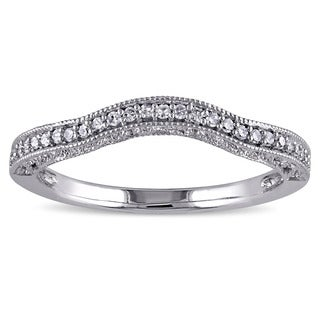 Miadora 14k White Gold 1/8ct TDW Diamond Contour Anniversary-style Stackable Wedding Band