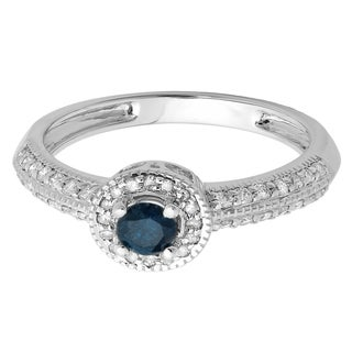Elora 14k White Gold 3/4ct TDW Round Blue and White Diamond Bridal Vintage-style Millgrain Halo Engagement
