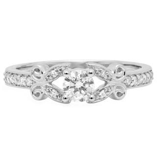Elora 14k White Gold 1/2ct TDW Round Diamond Vintage-style Engagement Ring (I-J, I1-I2)