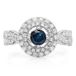 Elora 14k Gold 1 1/6ct TDW Round-cut Blue and White Diamond Swirl Halo Engagement Ring