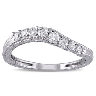 Miadora 14k White Gold 1 3ct TDW Diamond Wedding Band White G H