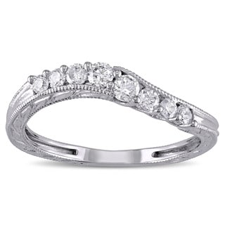 Miadora 14k White Gold 1/3ct TDW Diamond Wedding Band (G-H, I2-I3)