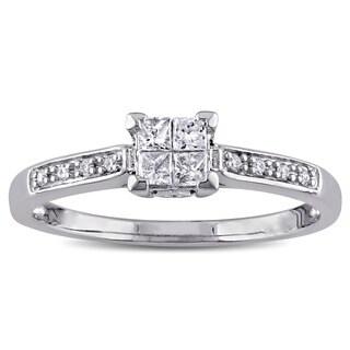 Miadora 10k White Gold 1/4ct TDW Princess Cut Diamond Engagement Ring - White G-H